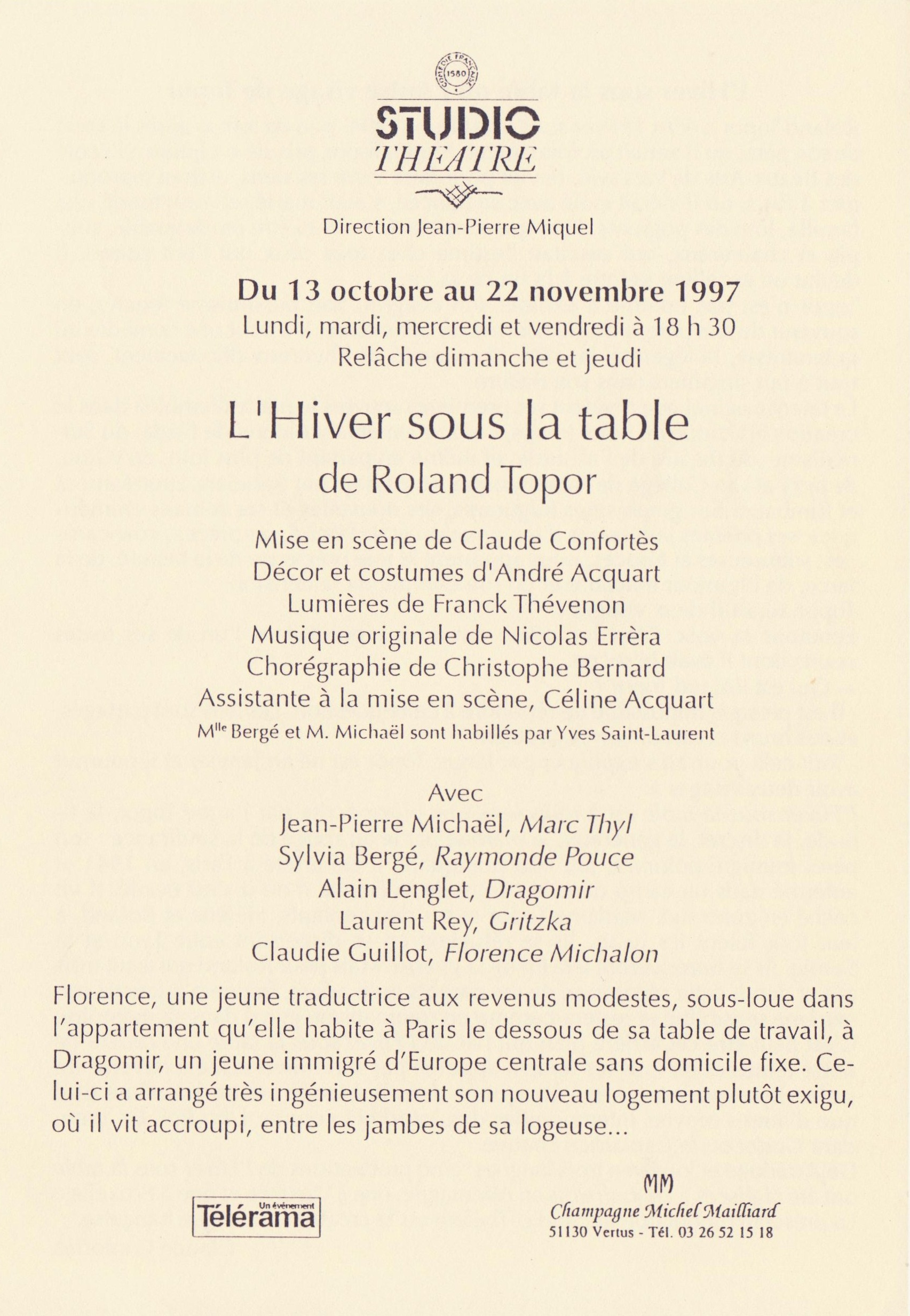 File L Hiver Sous La Table Programme Jpg Wikimedia Commons