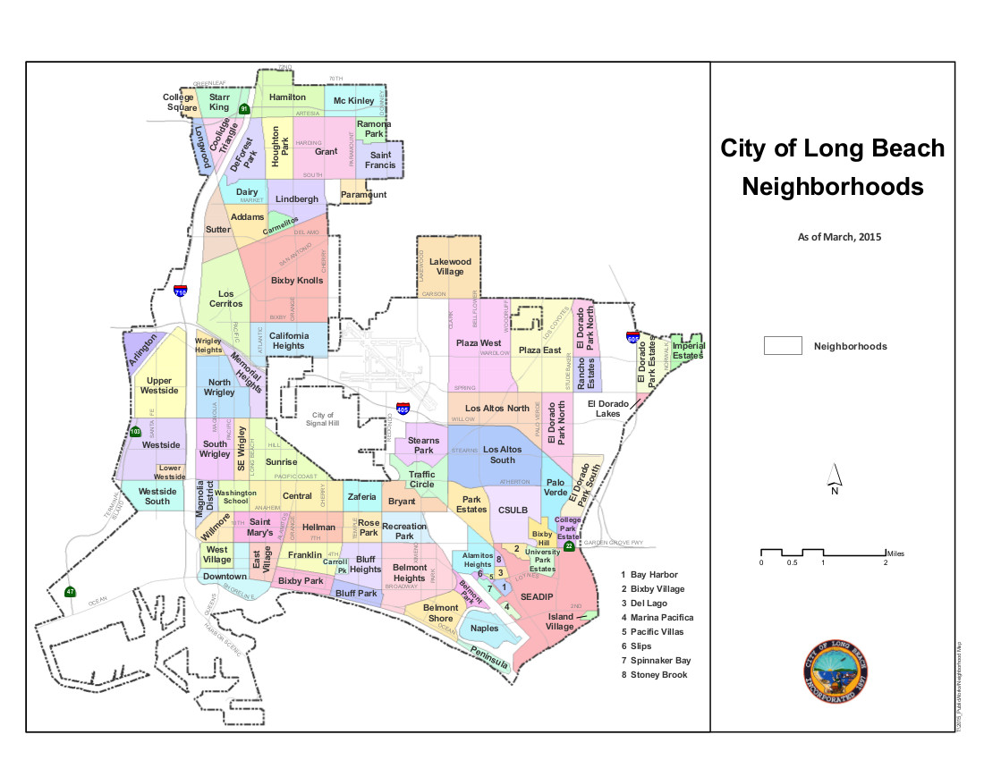 Long Beach Map Neighborhoods of Long Beach, California   Wikipedia Long Beach Map