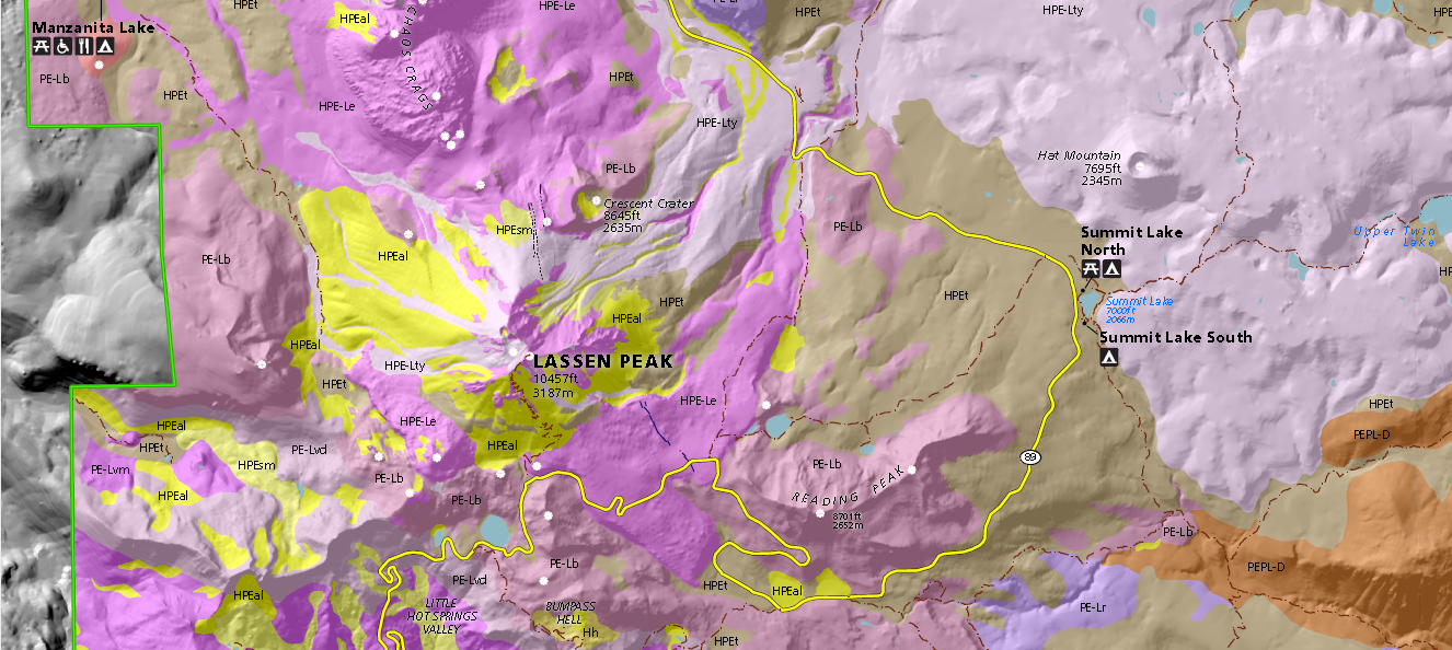 Lassen Peak geologic map where an asterisk
