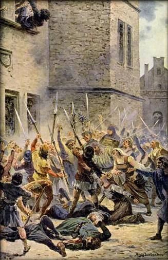 Soubor:Liebscher, Adolf - Svržení konšelů s Novoměstské radnice 30. července 1419.jpg