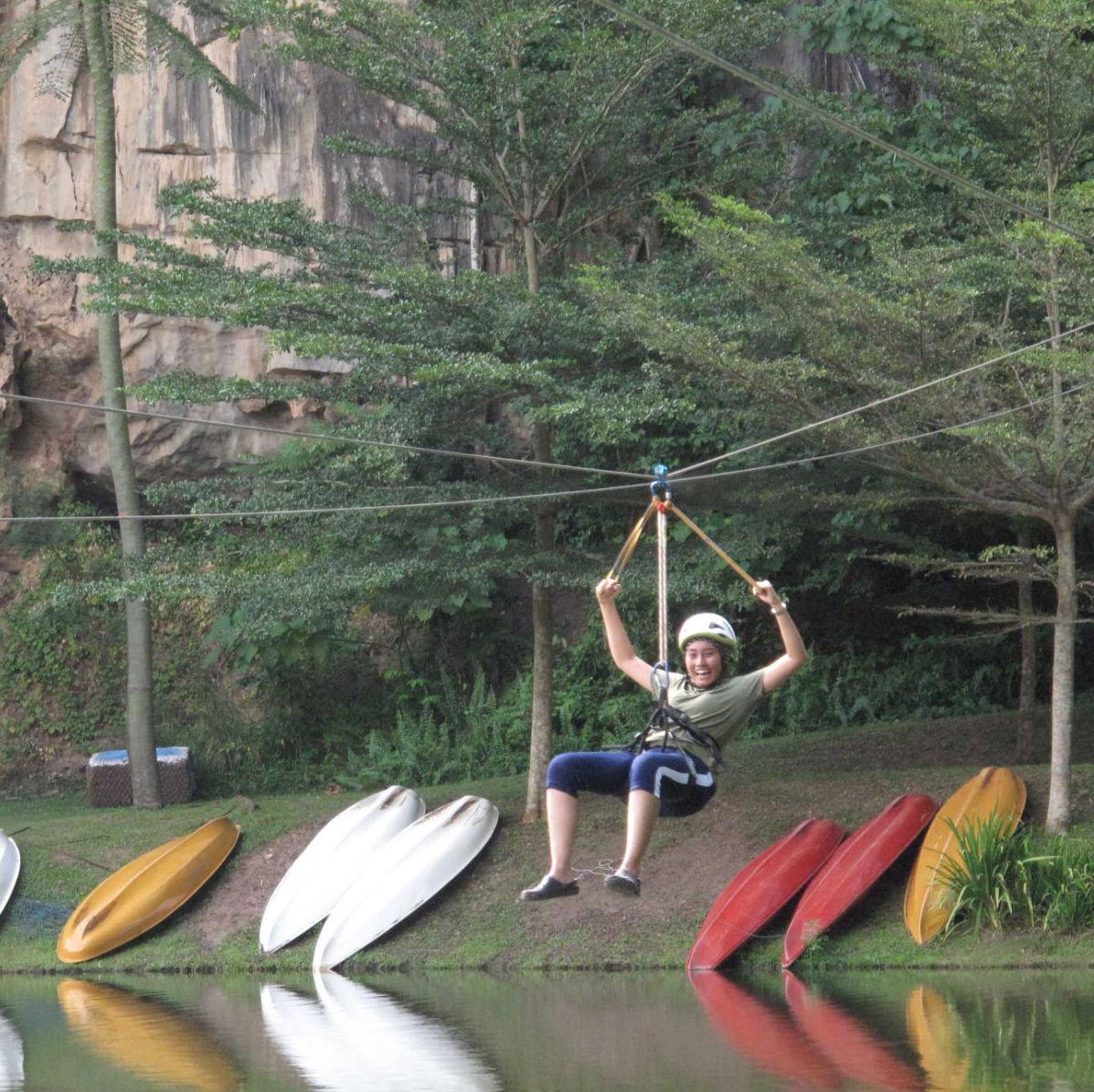 Ziplining in Lost World of Tambun