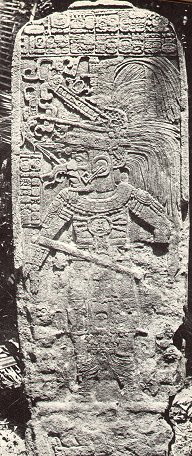 Photograph of a stela at Seibal (1908) MalerSeibalStela.jpg