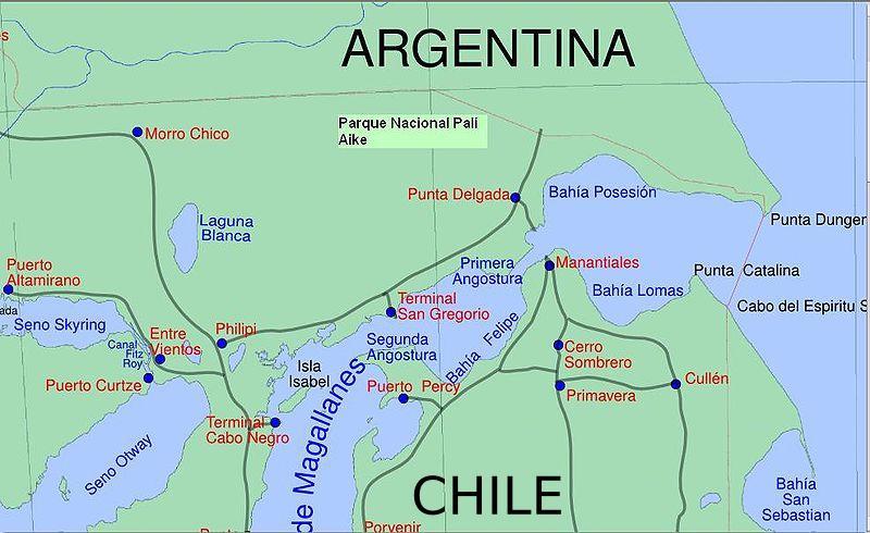 Sector este del estrecho de Magallanes.