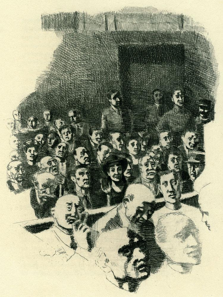 《異鄉人》1948年版蝕刻畫,Mayo繪製。
