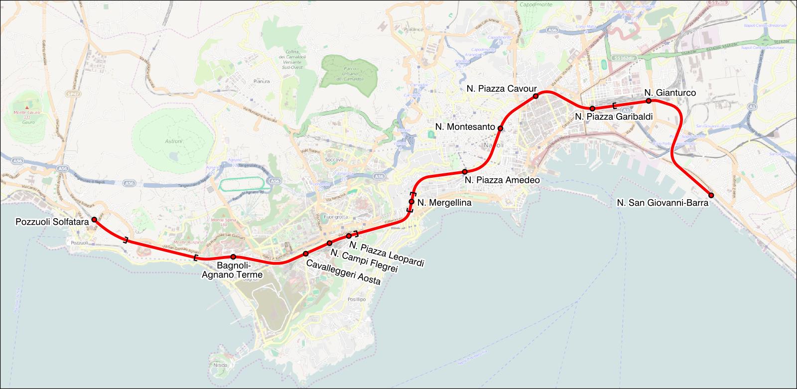 Napoli Subway Map.Line 2 Naples Wikipedia