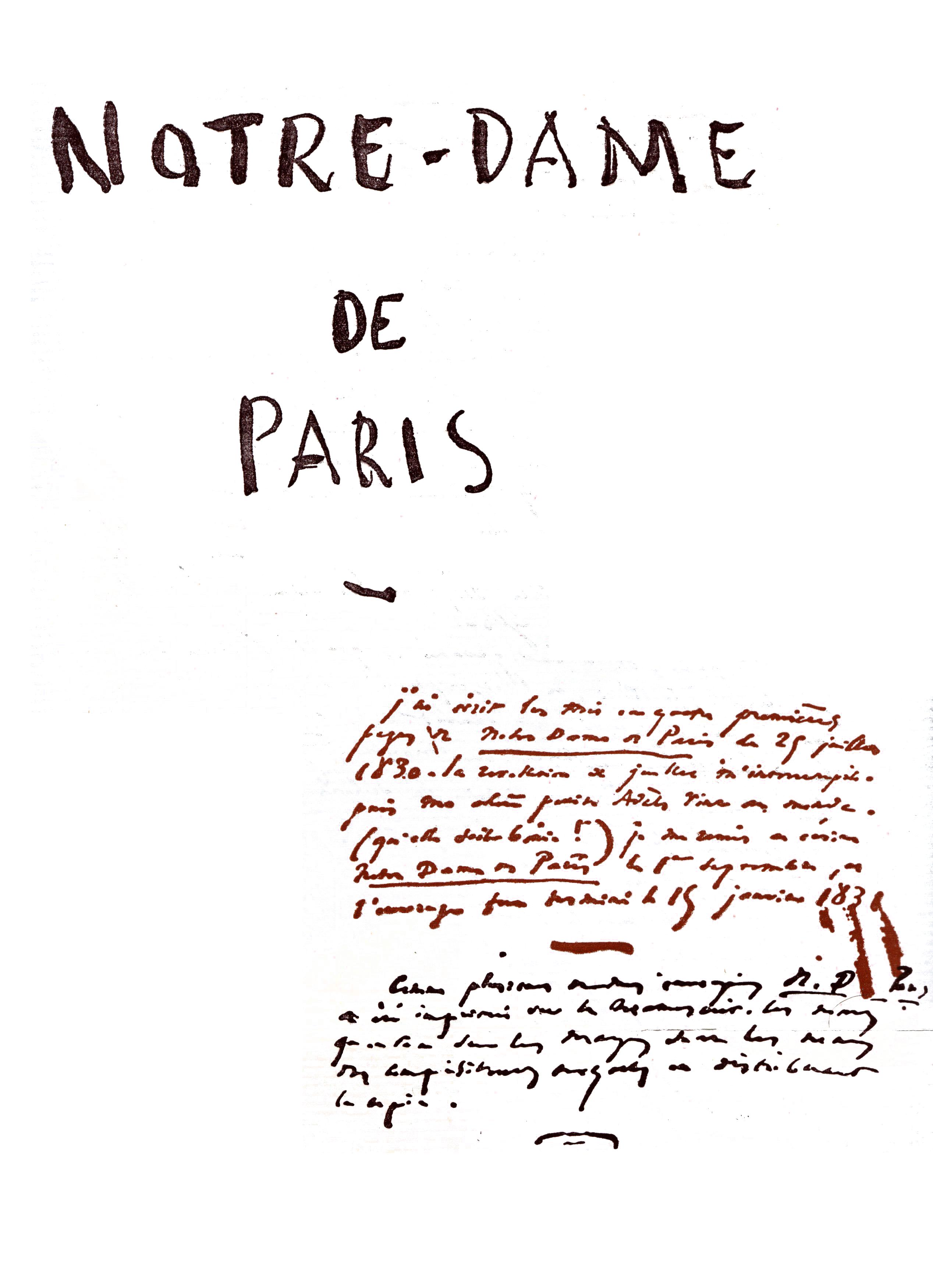 File:Notre Dame de Paris Victor Hugo Manuscrit détouré 1 ...