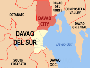 English: Map of Davao del Sur showing the loca...