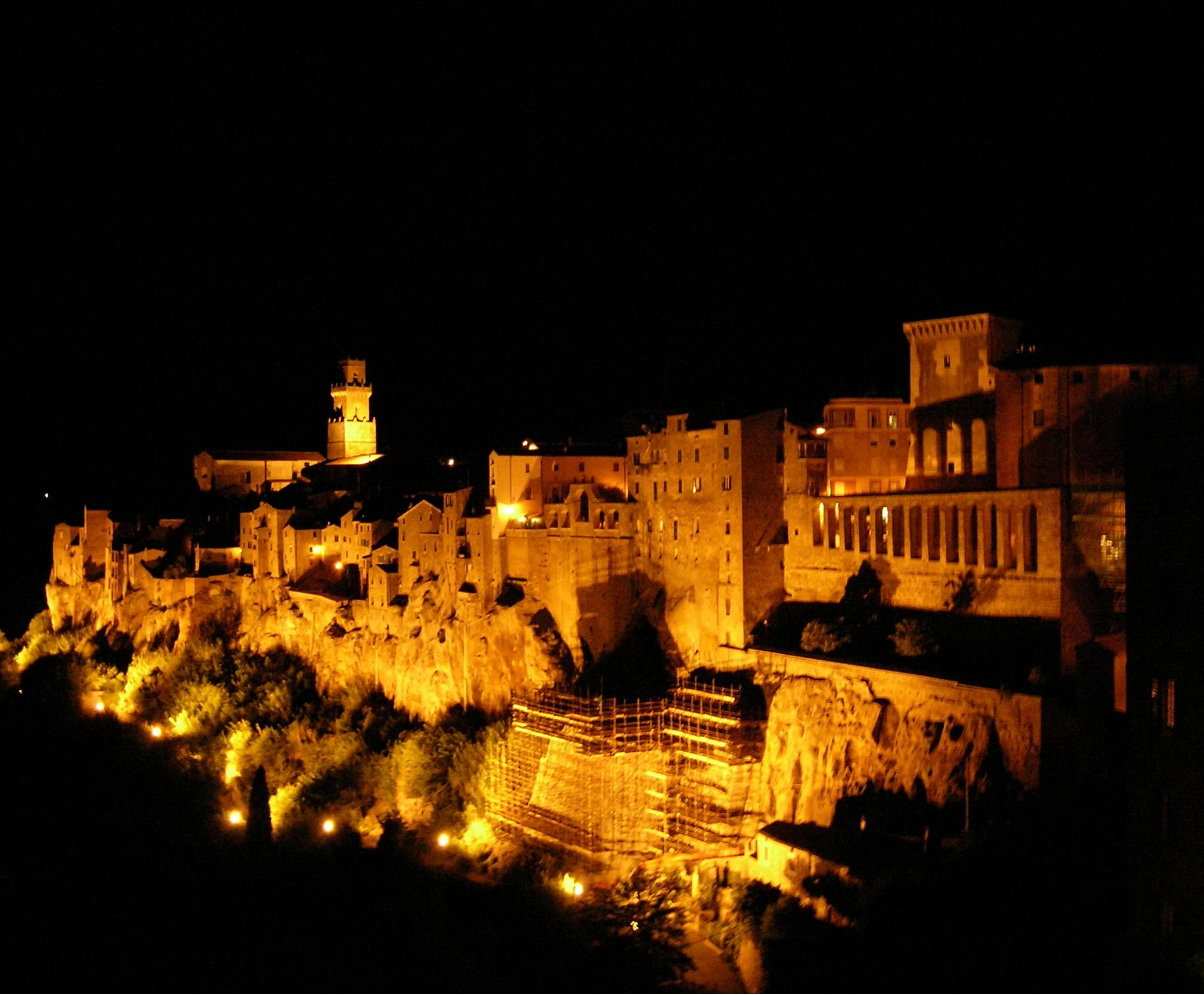 Pitigliano, Italy, at night