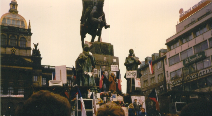 Wenceslas Monument in November 1989