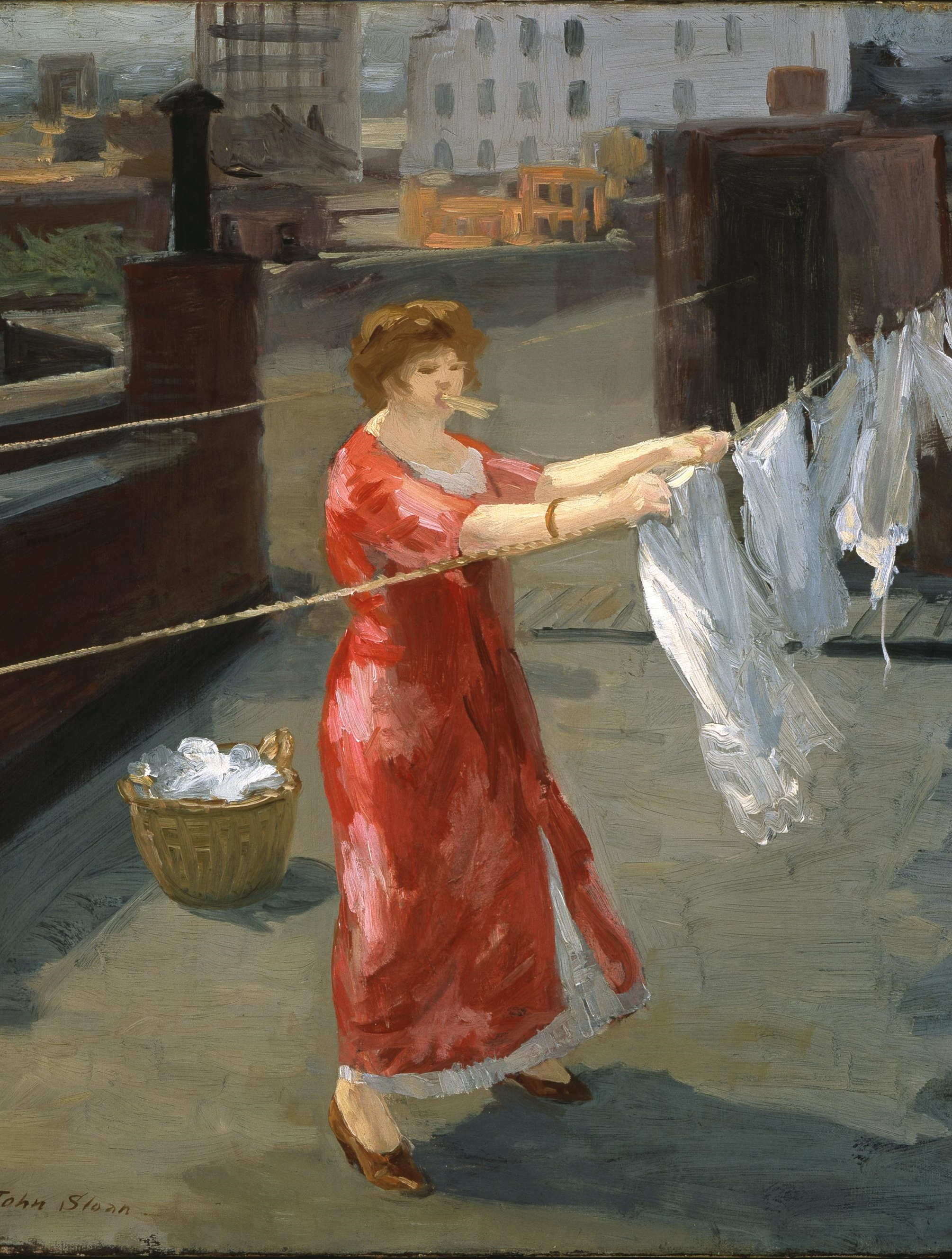 Sloan 1912 - Red Kimono on the Roof - Quelle: WikiCommons, Detail siehe Ende des Artikels