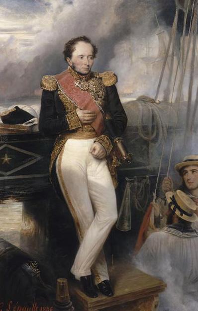 L'amiral de Rigny commandant la flotte française de l'expédition de Morée, à bord de la Sirène touchée dès le début de la bataille de Navarin le 20 octobre 1827. Portrait posthume par François-Gabriel Lépaulle, 1836.