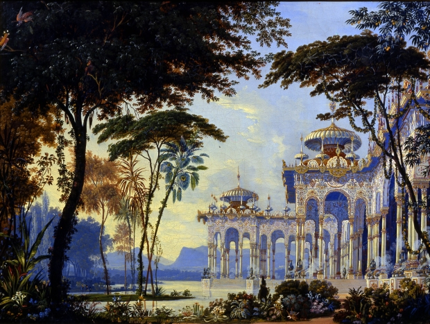 De tuinen van Tsjernomor, decorontwerp voor de opera Roeslan en Ljoedmila (1842) van Michail Glinka. Andreas Roller (1805-1891)