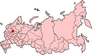Ярославская область на карте России