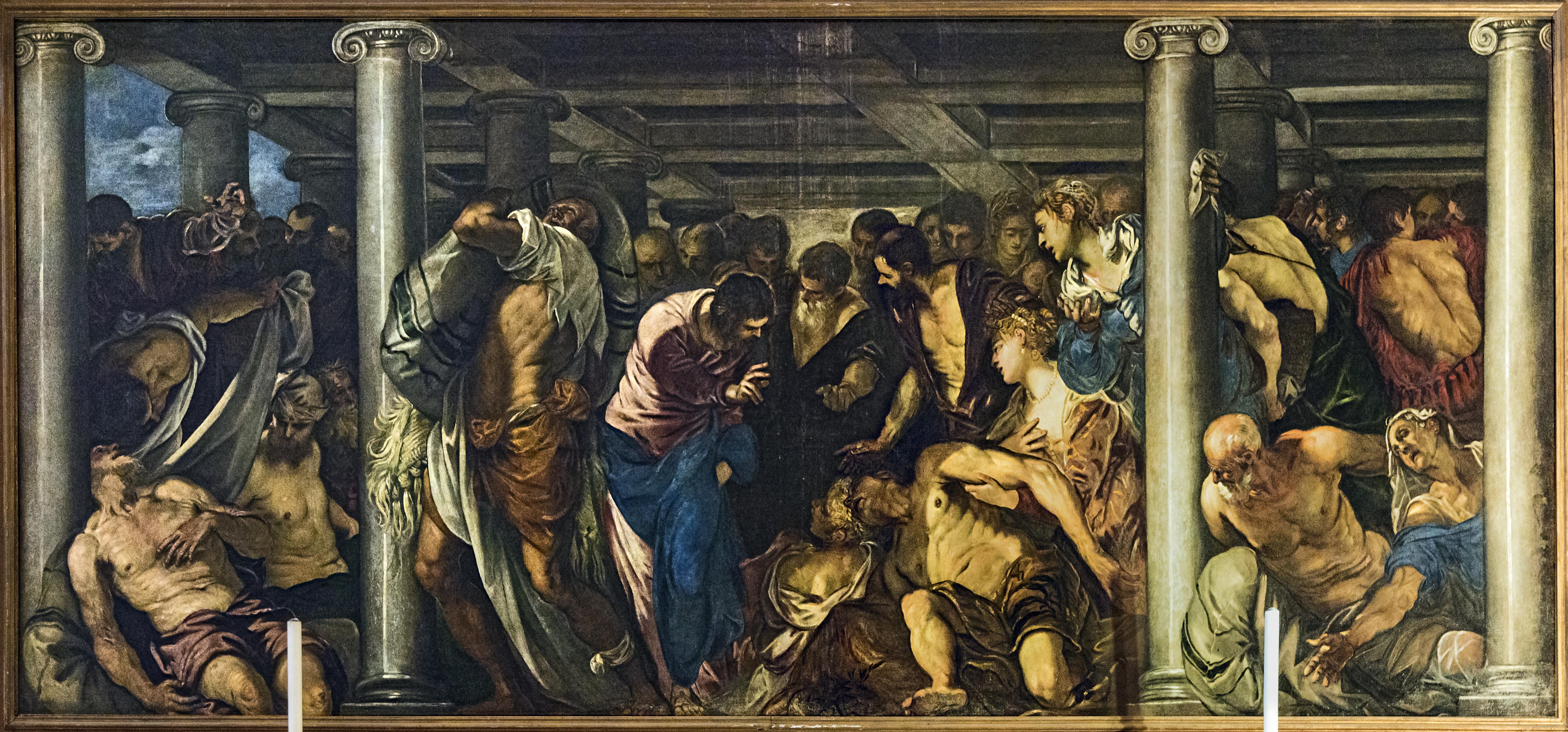File:San Rocco Venezia (Interno) - Tintoretto, La guarigione del paralitico  (