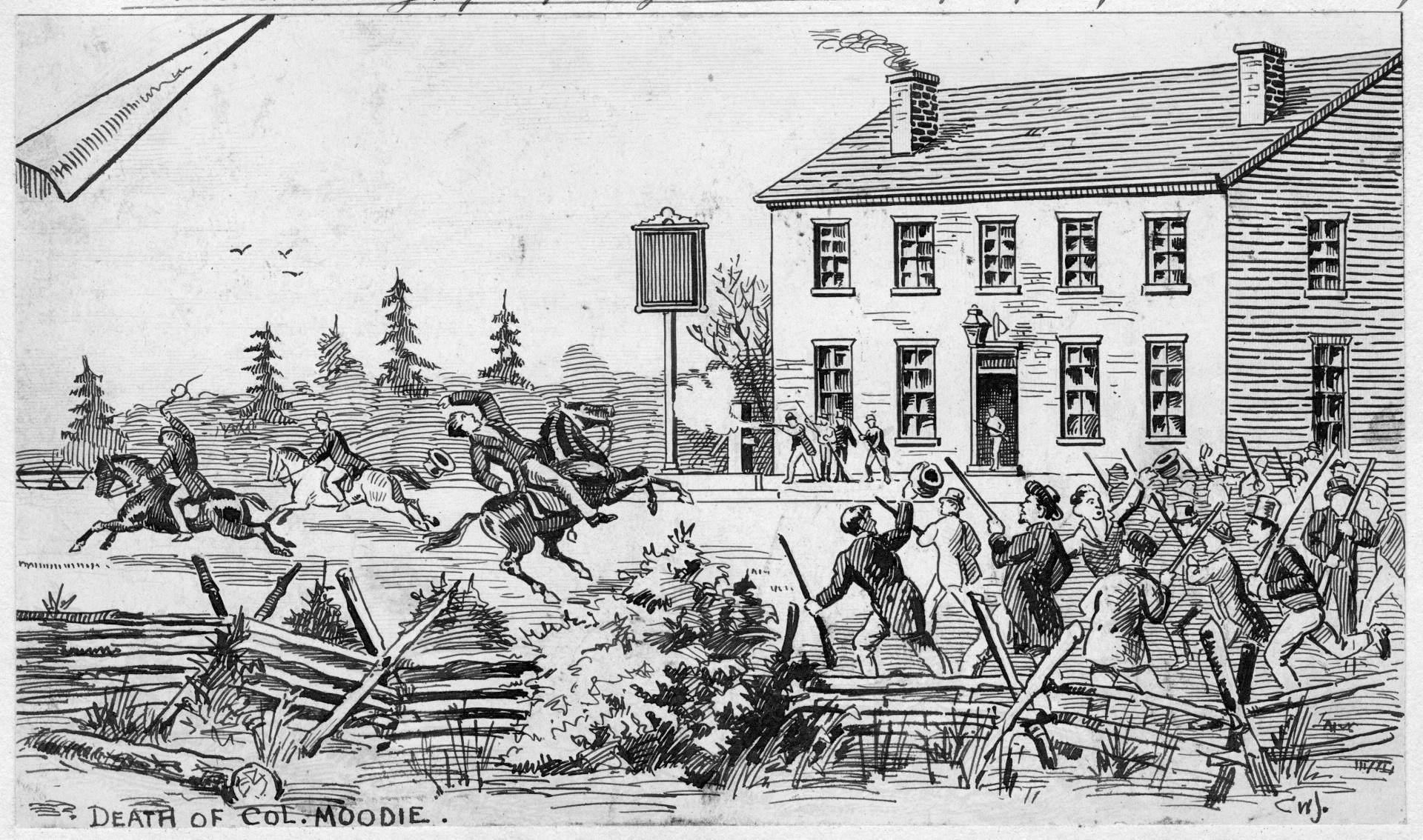 Shooting of Col. Robert Moodie, Montgomery's Tavern, Toronto by Charles  William Jefferys. (December 4, 1837).