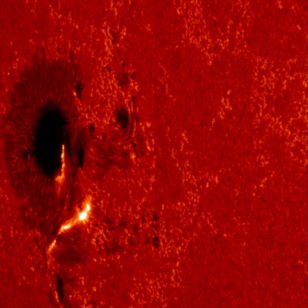 Солнечная вспышка, фотография спутника Hinode. Наблюдается как две узких, ярких структуры около южной части солнечного пятна - Gringo.ch - Wikimedia Commons