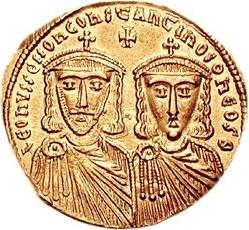 קובץ:Solidus of Leo IV the Khazar & Constantine VI.jpg