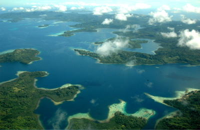 Aerial view of Solomon Islands.