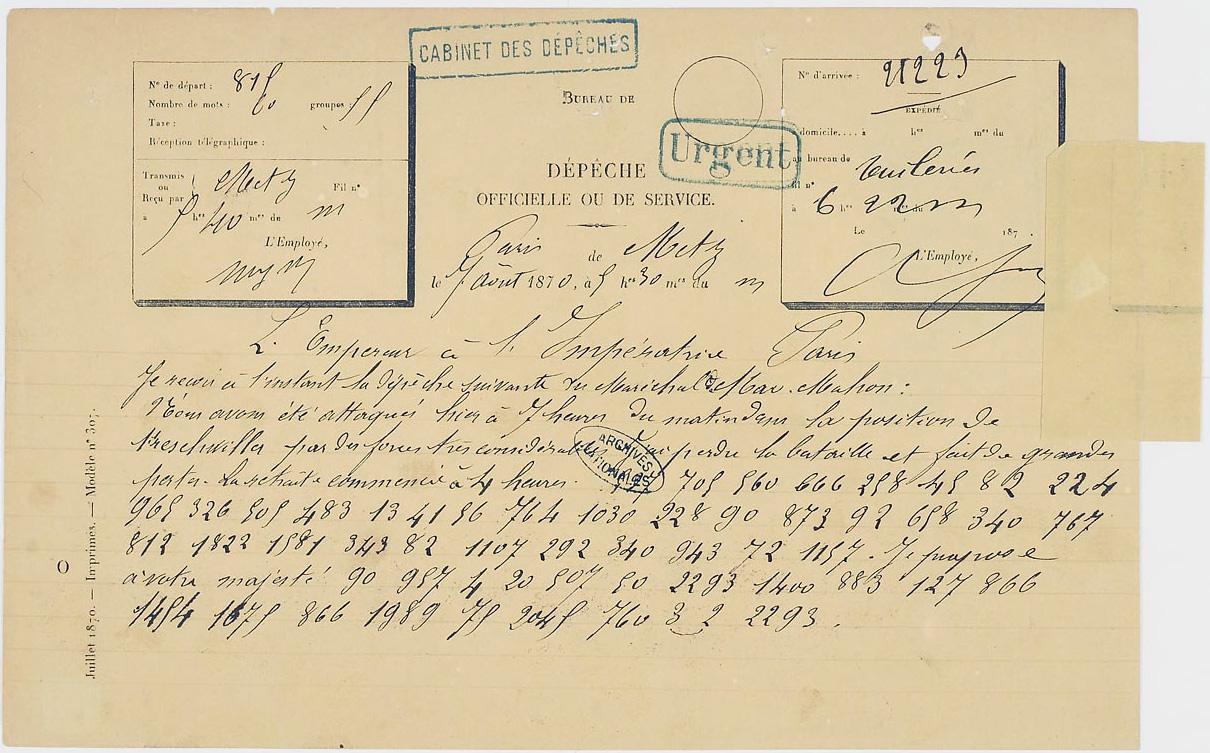 Fichier:Télégramme, demeuré en partie chiffré, de Napoléon III à l'impératrice