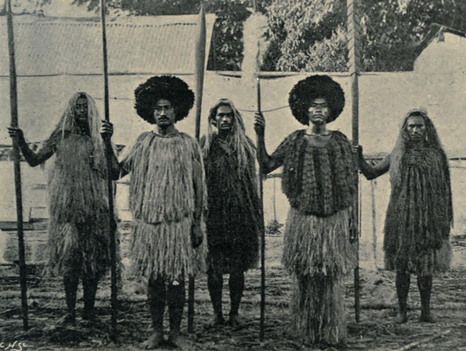 Description Tahitian Ancient Costumes and Weapons (1898).jpg