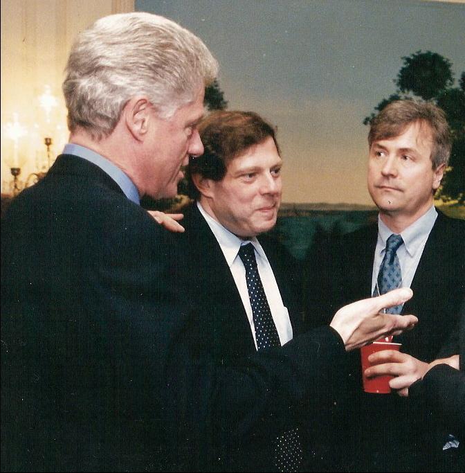 (L–R): former President [[Bill Clinton]], White House adviser [[Mark Penn]], David Talbot