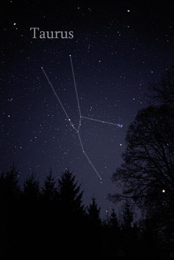 The constellation Taurus as it can be seen by the naked eye. The constellation lines have been added for clarity. TaurusCC.jpg