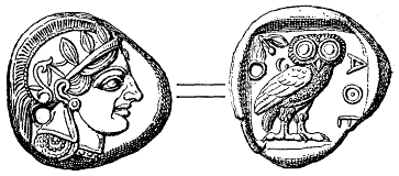 On a Tetradrachma of Athens, struck c. 490 BC, the head of Athena, (left), is regarded as the obverse because of its larger scale and because it is a portrait head; the entire owl is depicted in a smaller scale on the reverse. Tetradrachma fran Aten (omkr 490 fKr, ur Nordisk familjebok).png