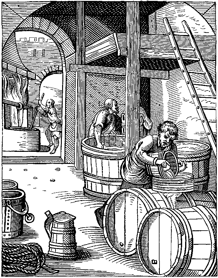 16th century engraving, by J. Amman, depicting a brewery.
