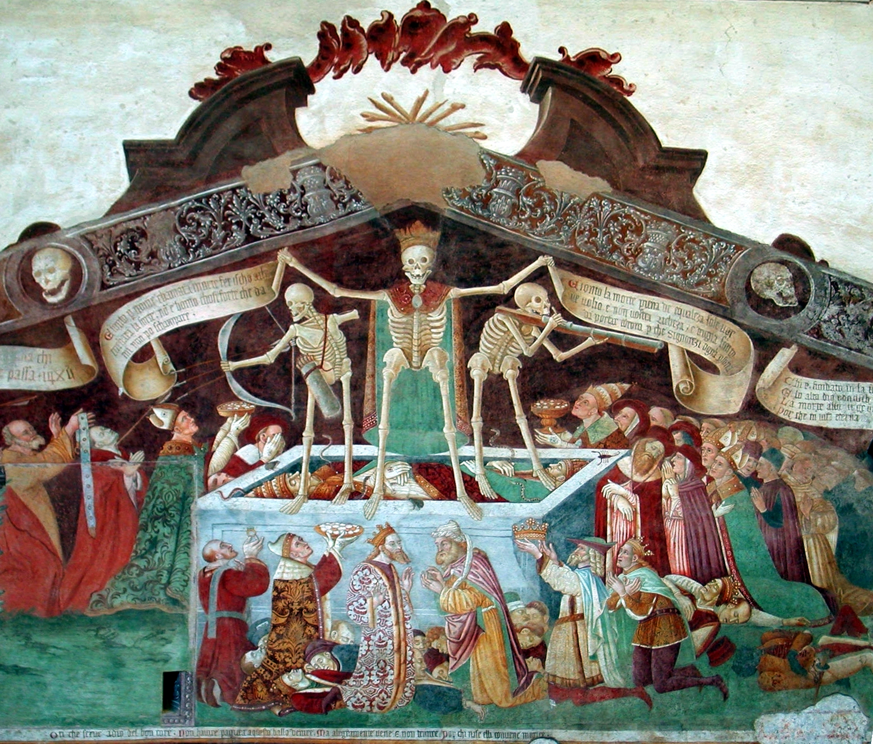 Speaking of spooky: the Trionfo della Morte, a fresco on the façade of the Oratorio