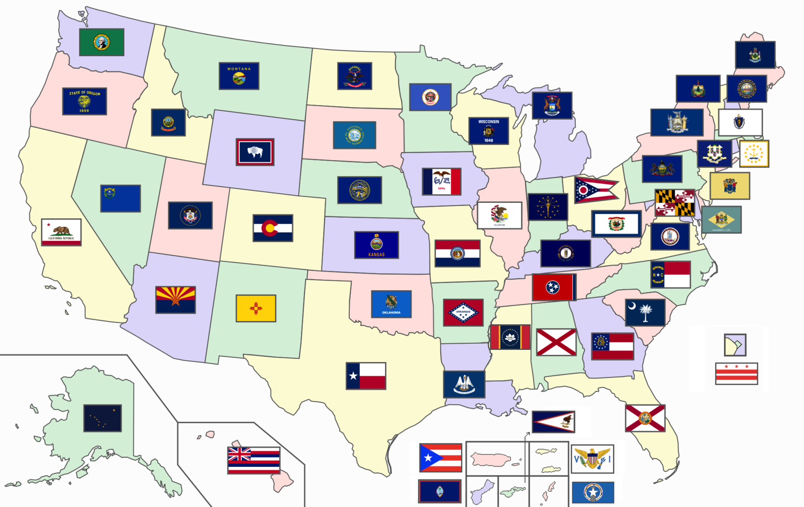 Us Map With Flags Flags of the U.S. states and territories   Wikipedia
