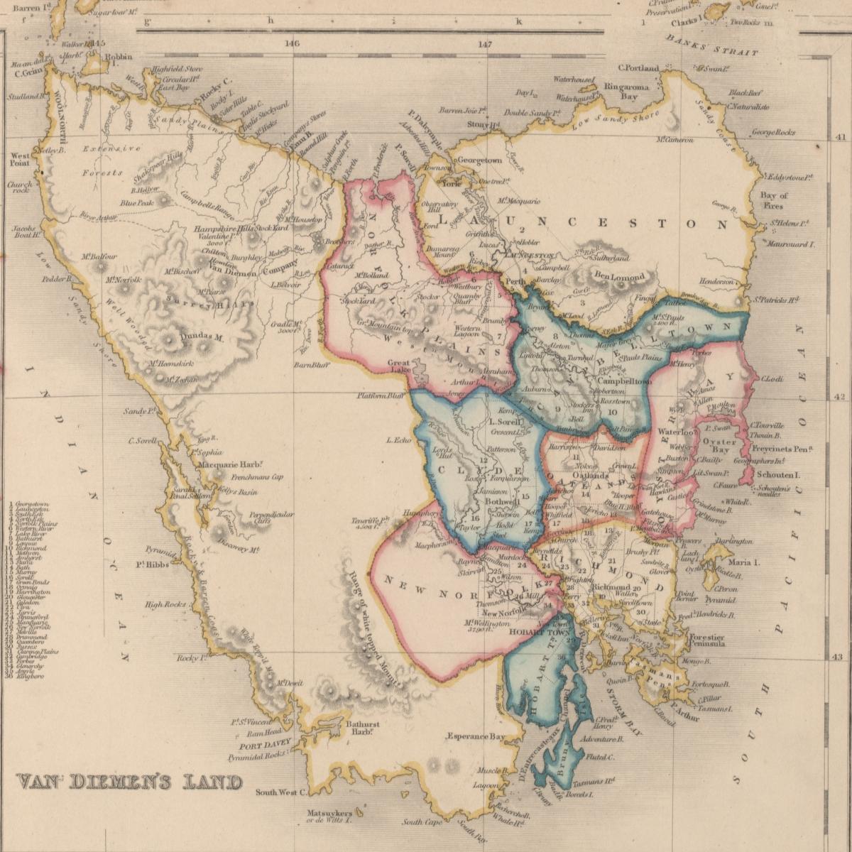 1852 map of Van Diemen's Land