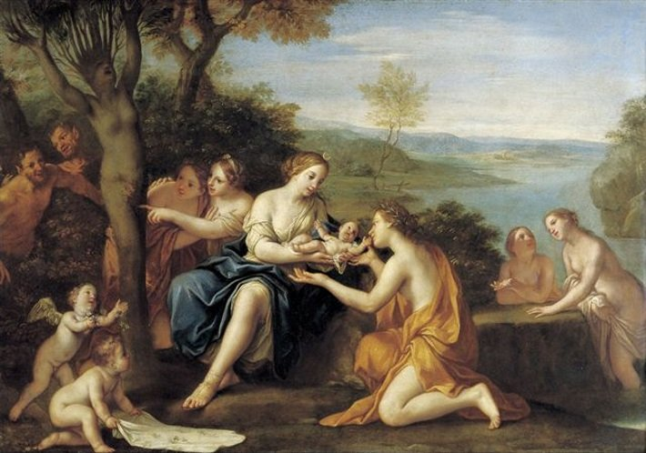 File:'Birth of Adonis', oil on copper painting by Marcantonio Franceschini, c. 1685-90, Staatliche Kunstsammlungen, Dresden.jpg