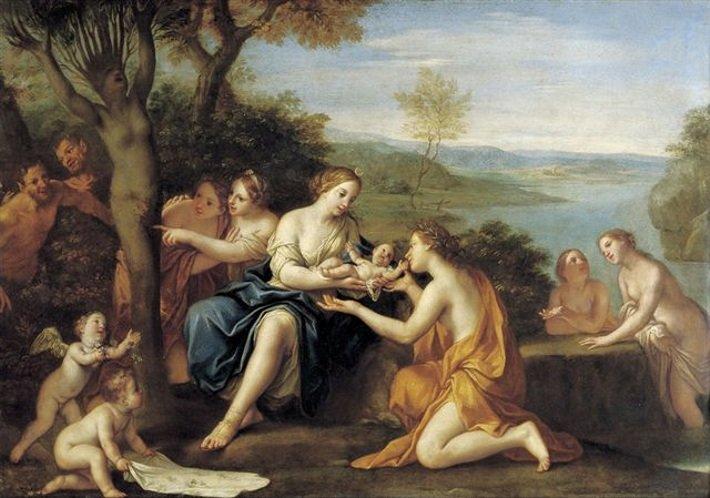 File:'Birth of Adonis', oil on copper painting by Marcantonio Franceschini, c. 1685-90, Staatliche Kunstsammlungen, Dresden.jpg