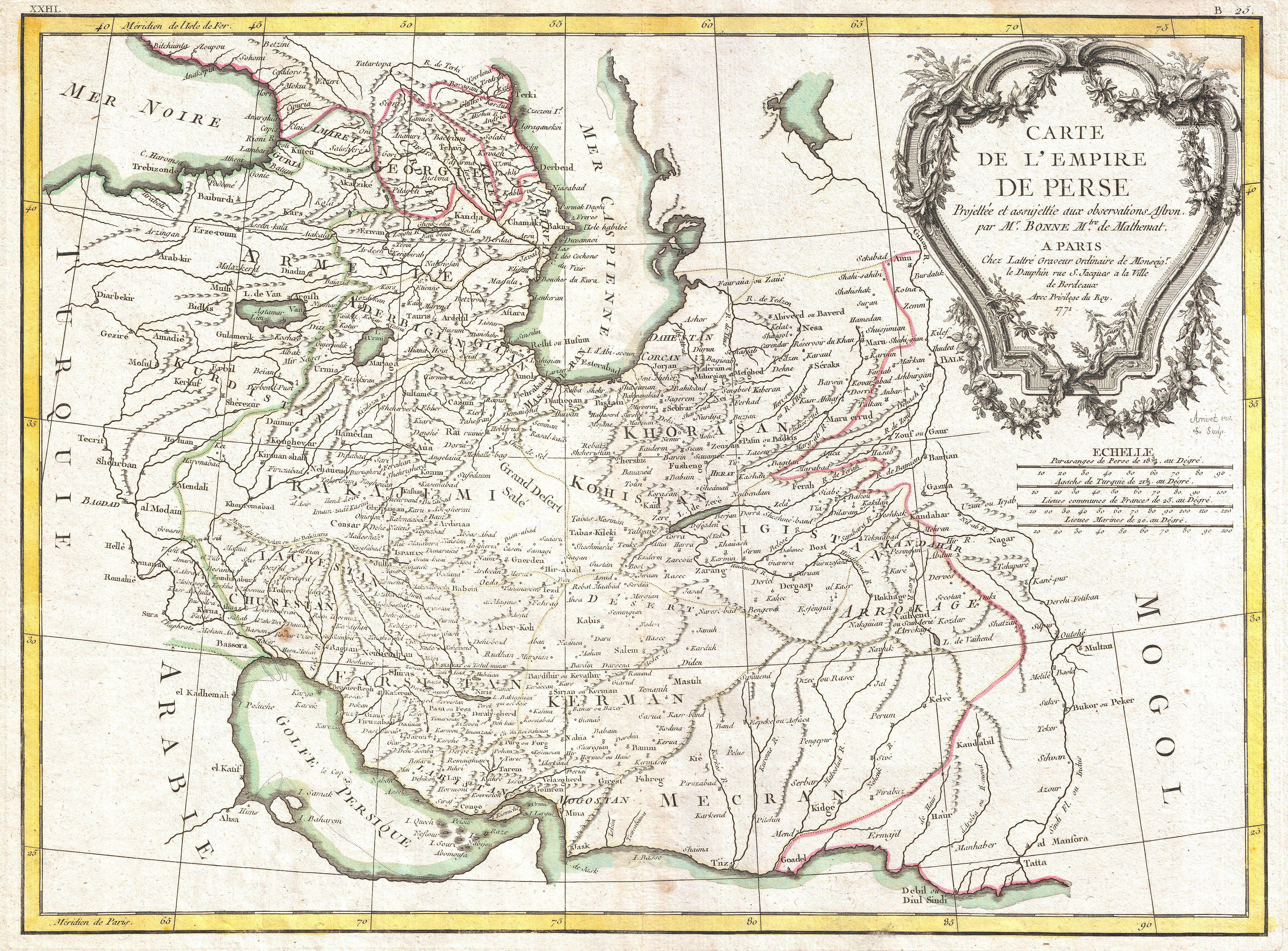 File1771 Bonne Map of Persia Iran Iraq Afghanistan – Afghanistan Iran Map