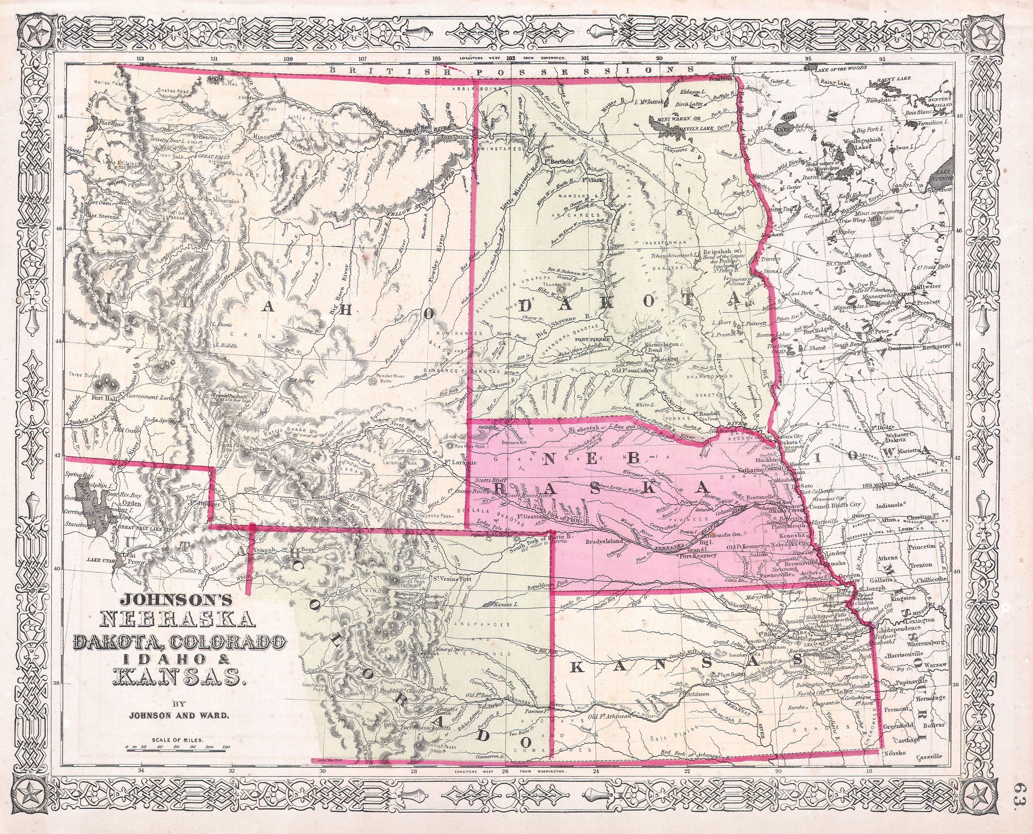 File 1863 Johnson 39 s Map of Colorado Dakota Idaho Nebraska Kansas G