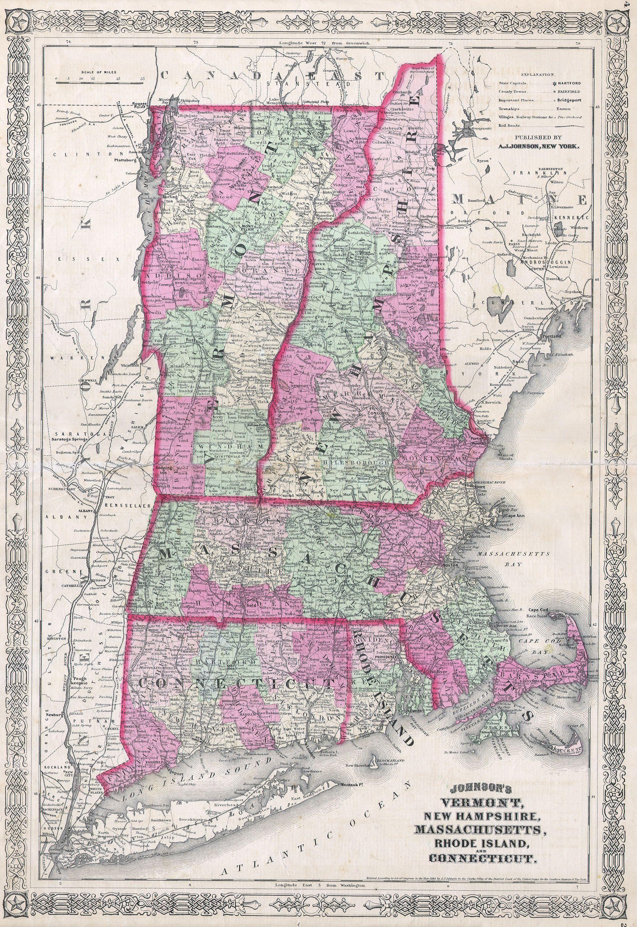 County Map Of The States Of New York New Hampshire Vermont - New york vermont map