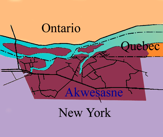 """Akwesasne Territory"". Licensed under Creative Commons Attribution-Share Alike 3.0 via Wikimedia Commons - https://commons.wikimedia.org/wiki/File:Akwesasne_Territory.png#mediaviewer/File:Akwesasne_Territory.png"