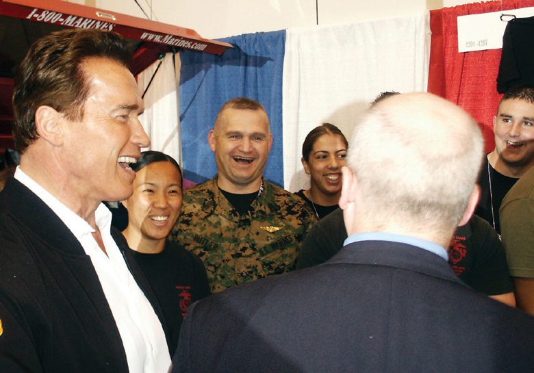 File:Arnold Schwarzenegger jokes with the Marines 2005.jpg
