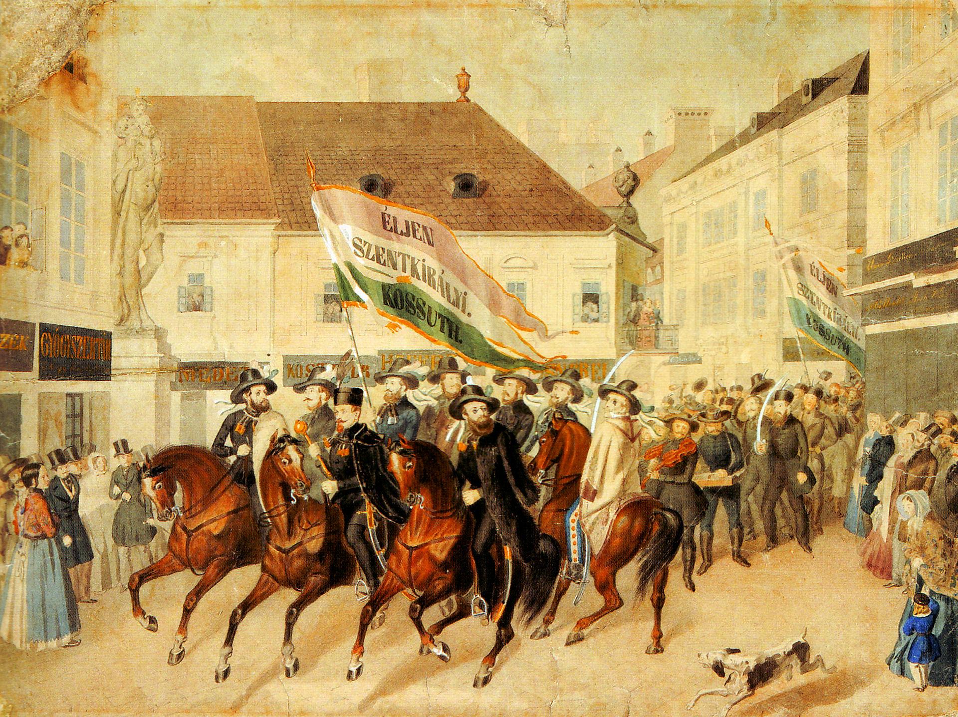 akvarellje English: Election parade at Kristóf Square, Pest, 1848 aquarell by Miklós Barabás Date 1848 körül / ca. 1848 Source/Photographer Self-scanned
