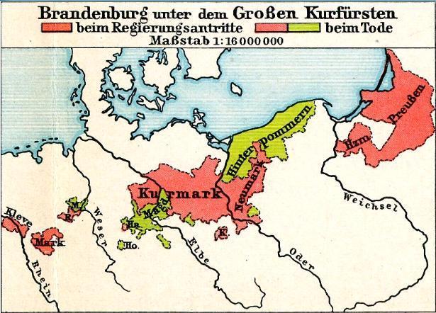 Brandenburg-Preußen von 1640 und 1688 aus: Putzgers Historischer Schul-Atlas, 1905