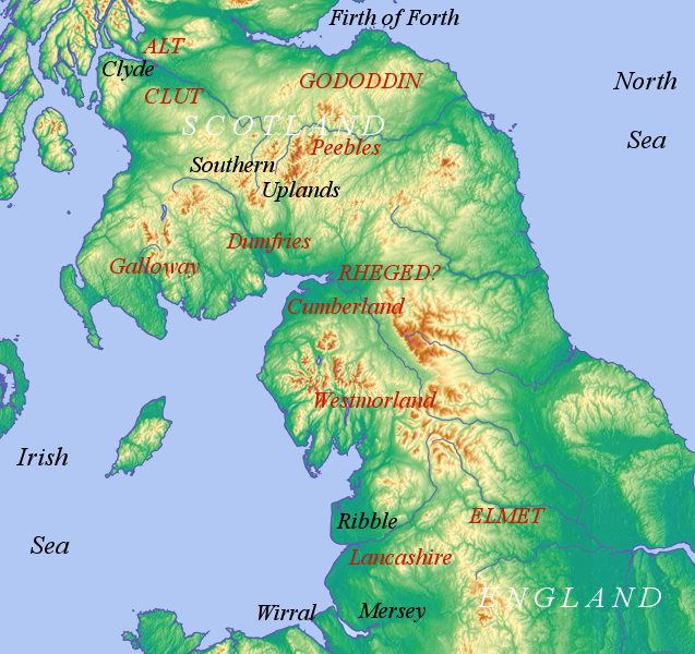 The Cumbric region: modern counties and regions with the early mediaeval kingdoms Cumbric region.png