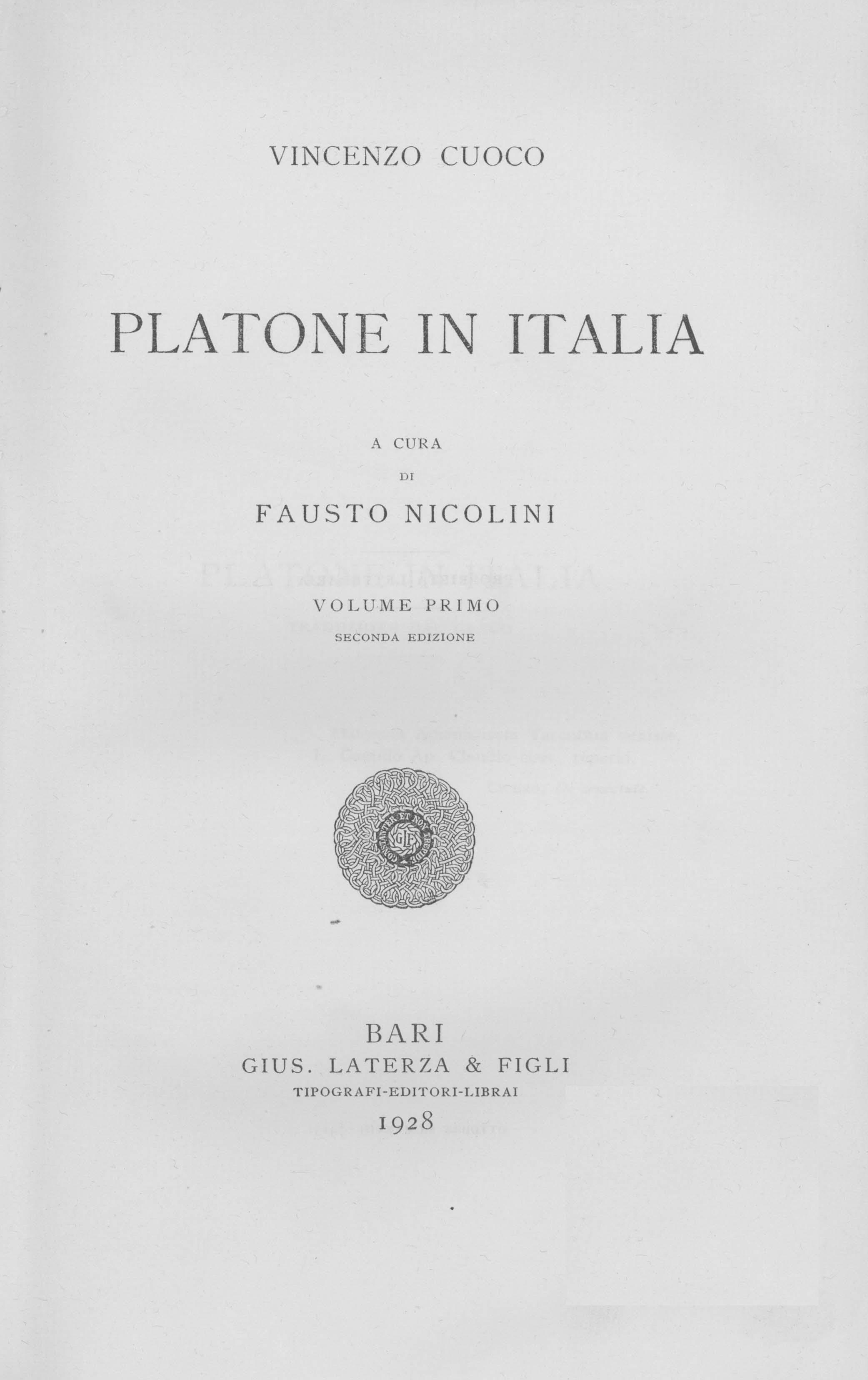 ''Platone in Italia'', 1916