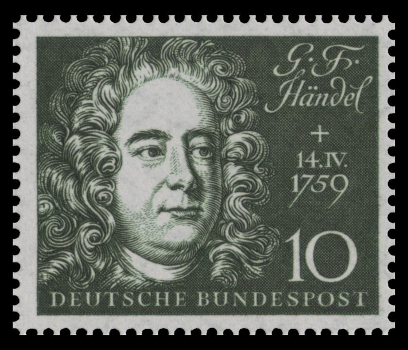 briefmarke der deutschen bundespost 1959 zum 200 todestag und zur einweihung der beethovenhalle - Georg Friedrich Handel Lebenslauf