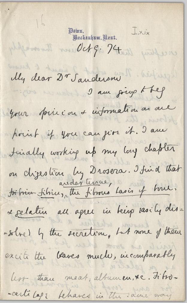 [Darwin letter]