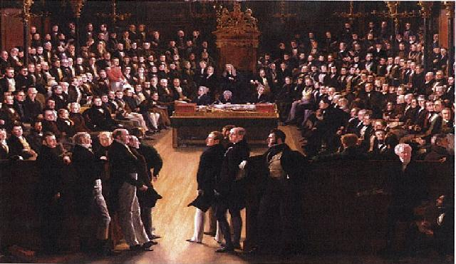 A painting by Sir George Hayter that commemorates the passing of the Reform Act of 1832. It depicts the first session of the newly reformed House of Commons on 5 February 1833. In the foreground, the leading statesmen from the Lords: Charles Grey, 2nd Earl Grey (1764-1845), William Lamb, 2nd Viscount Melbourne (1779-1848) and the Whigs on the left; and Arthur Wellesley, 1st Duke of Wellington (1769-1852) and the Tories on the right. Detail House of Commons.JPG
