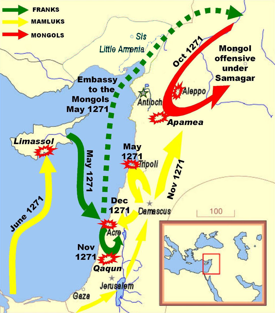 Baibars's Campaigns (http://upload.wikimedia.org/wikipedia/commons/2/25/EdwardICrusadeMap.jpg)