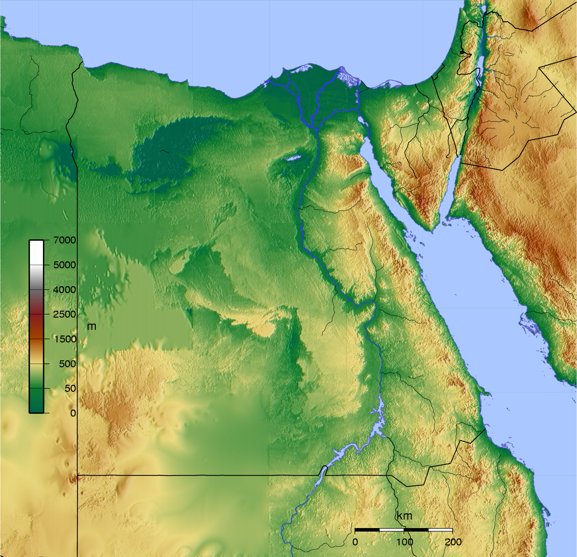 Topographic Map Egypt Topographic Map - Map of egypt elevation