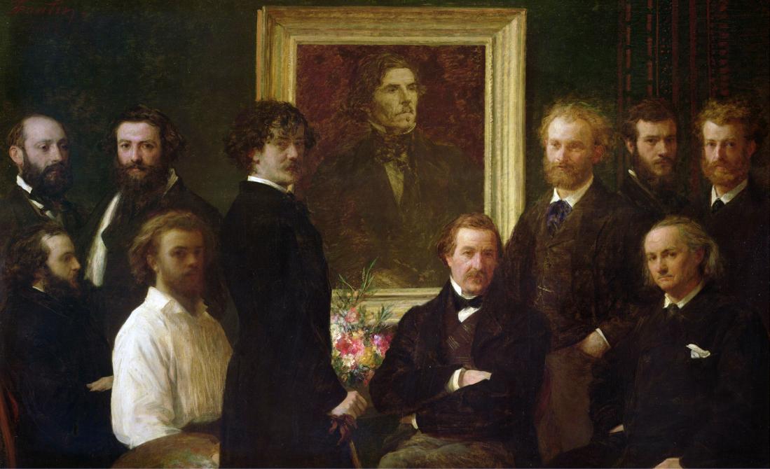 Homenaje a Delacroix, Baudelaire (el último sentado del lado derecho).