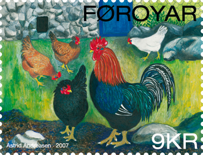 Faroese stamp 604 chicken