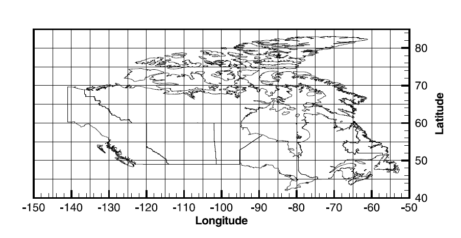 Map Coordinates Canada File:Figure 5.5   Mesh in Geographic Coordinates (lat & long). The
